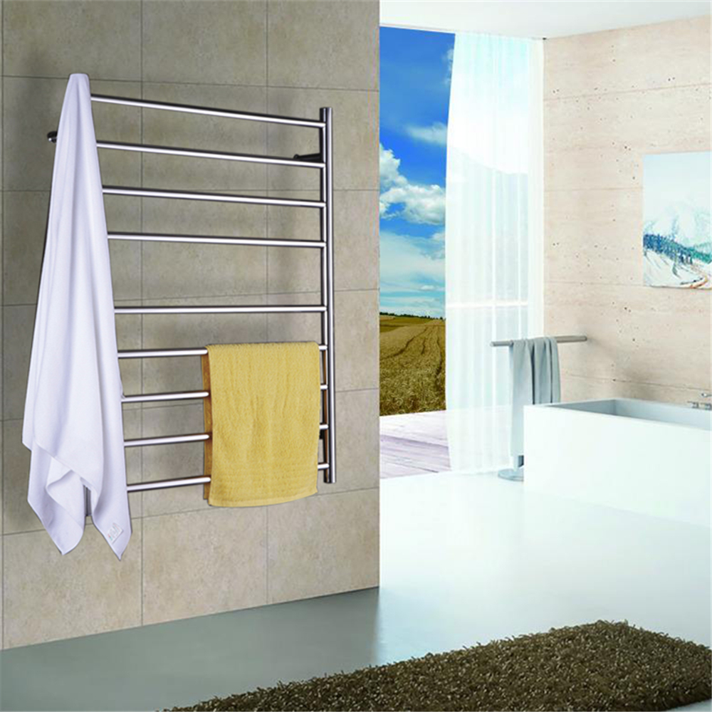 1pcs Heated Towel Rail Holder Bathroom Accessoriestowel: Polish Stainless Steel 304 Electric Wall Mounted Towel
