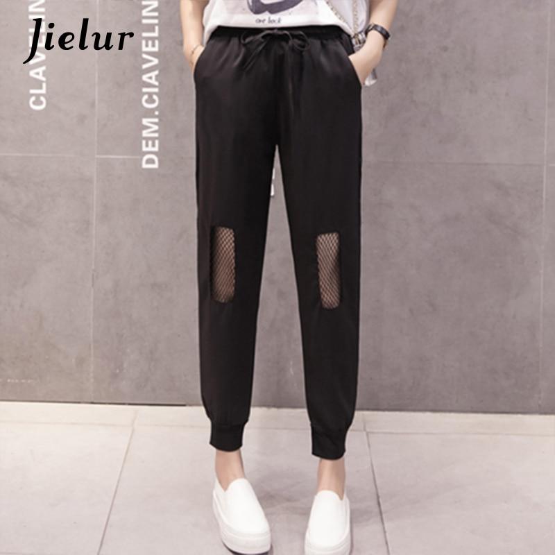 Jielur Summer New Street Black Female   Pants   Spliced Mesh Hollow Harem   Pants   Women Loose Simple Pockets   Capri   Pantalon Mujer XXL