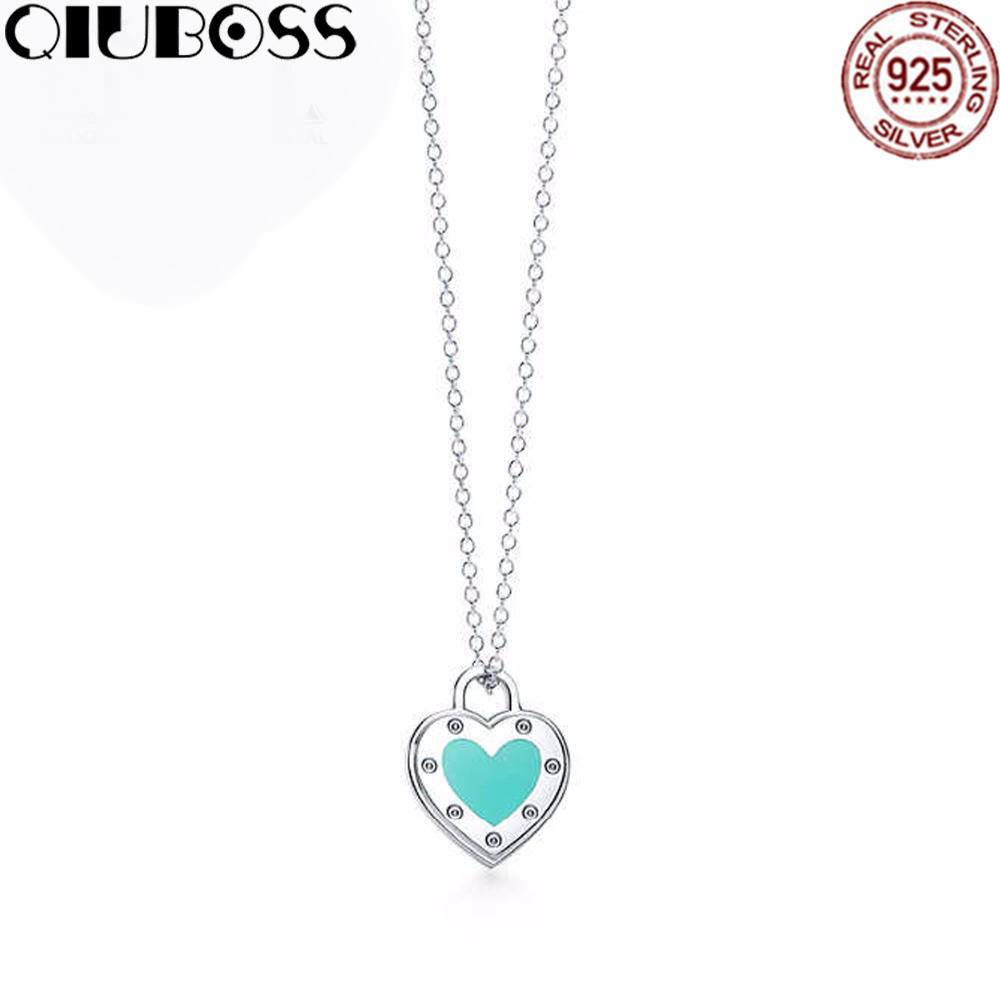 QIUBOSS TIFF 925 sterling silver 1:1 authentic original heart-shaped green Pendant Necklace Charm Simple Women Clavicle qiuboss 925 sterling silver silver heart shaped enamel pendant necklace charm women clavicle diy gift jewelry