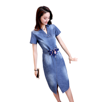 Denim Dresses Women Spring New Fashion Belt Slim Jeans Dress Knee Length Vintage Long Sleeves Casual Dress 2018 News