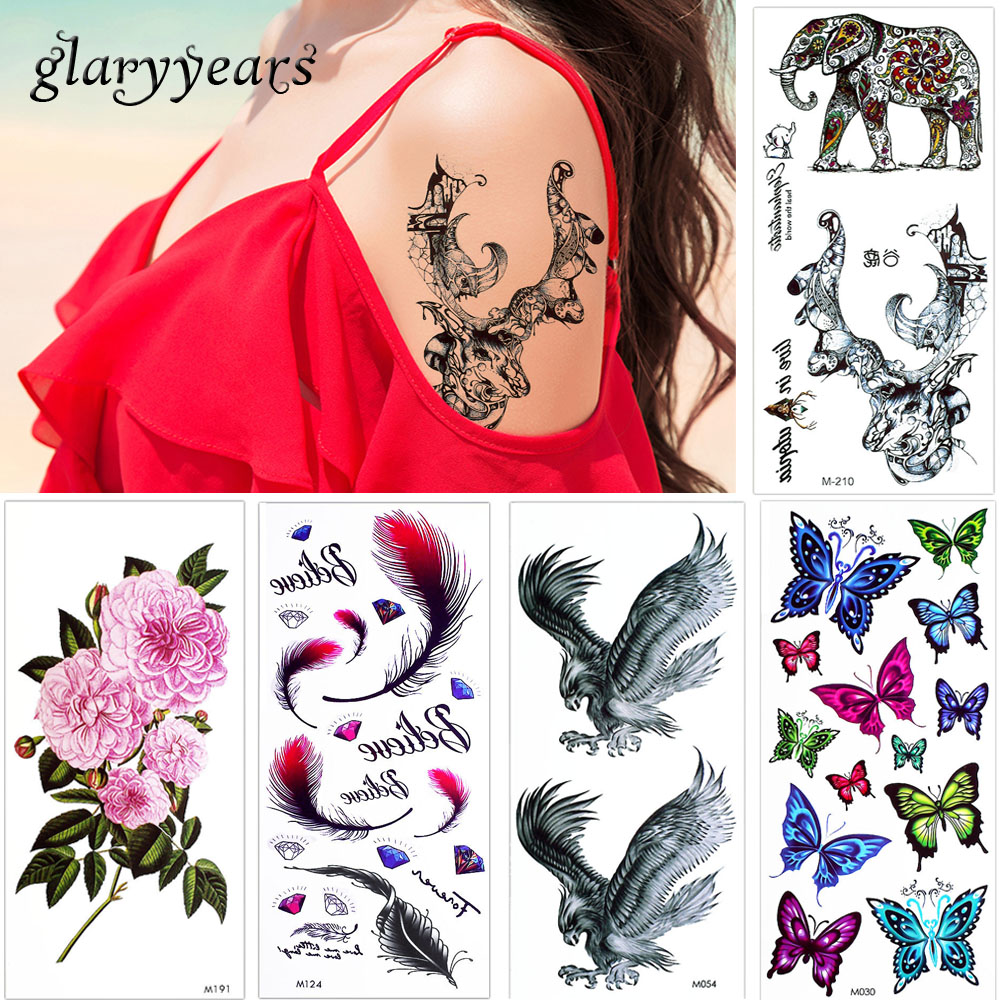 glaryyears 5 Pieces/lot Colored Drawing Temporary Body Makeup Tattoo ...