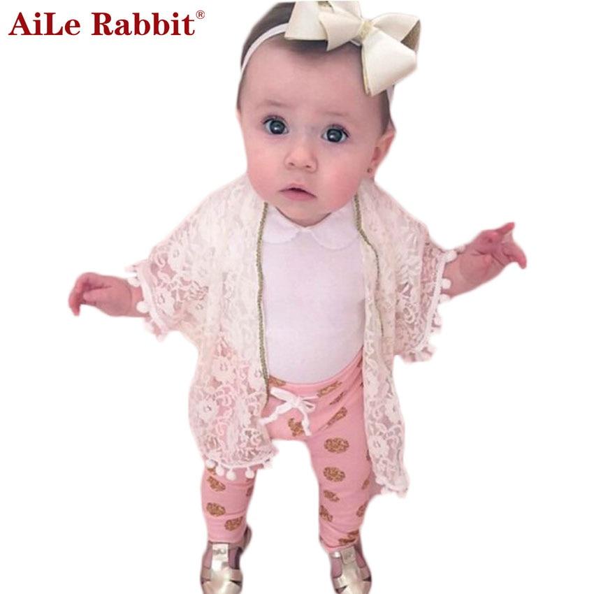 AiLe Rabbit Spring 2017 Cotton Baby Girls Cardigan Coat Spend Three Flowers Lollipops Dot Jacket Kids Children Clothing