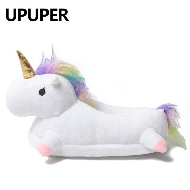 2018 Kış güzel Ev Terlik Chausson Licorne beyaz ayakkabı Kadınlar unicorn terlik hayvanlar pantuflas unicornio pantoufle femme