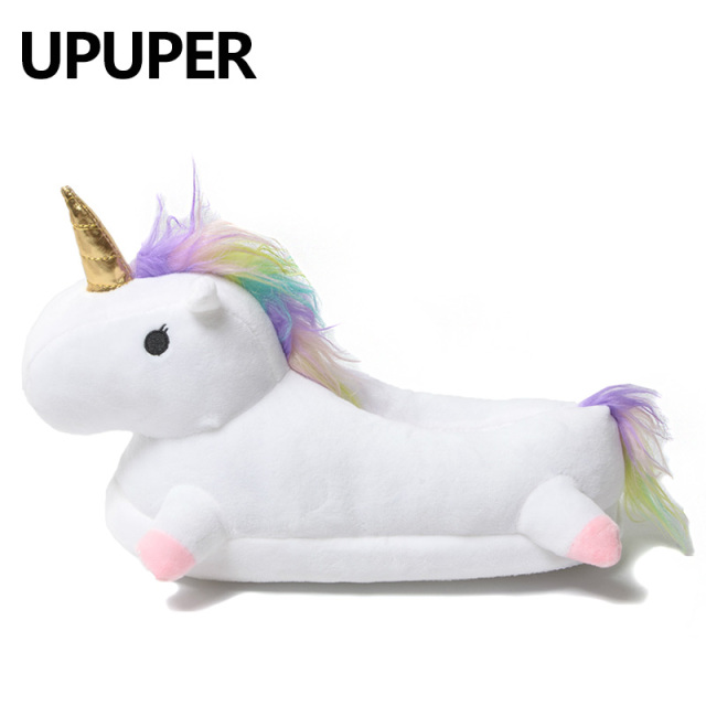 2018 Winter lovely Home Slippers Chausson Licorne White Shoes Women unicorn slippers animals pantuflas unicornio pantoufle femme