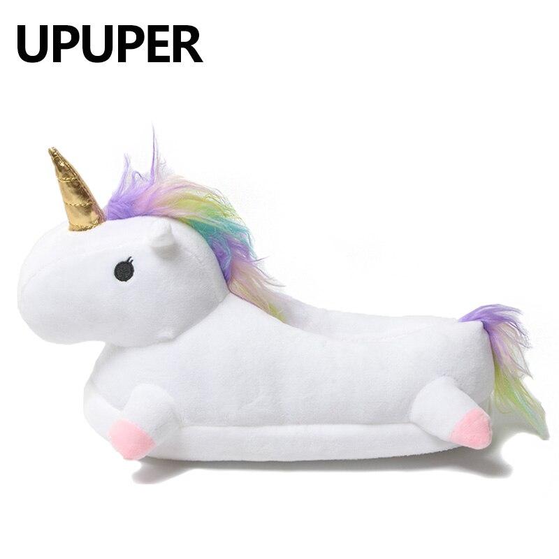 2018 Zapatillas de casa encantadoras de invierno chauson Licorne zapatos blancos mujeres unicornio zapatillas animales pantuflas unicornio pantoufle Mujer