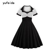 YUFEIDA Ladies Black White Dot Vintage Dress Retro 50s 60s Hepburn Style Short Sleeve New Summer