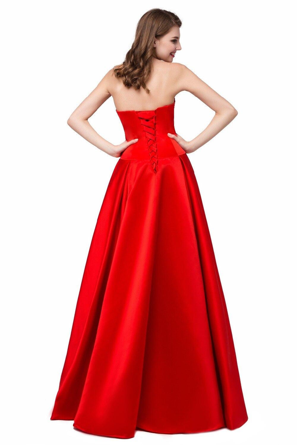 Cute satin V neck A line big volume skirt red ankle length cocktail ...