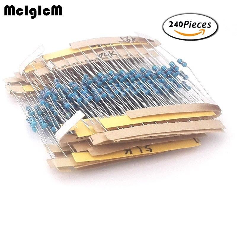 MCIGICM 240 Pcs 1/4W 1% 24 Kinds Each Value Metal Film Resistor Assortment Kit Set Pack
