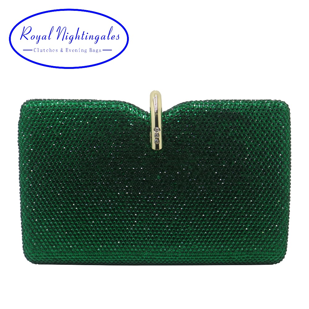 Royal Nightingales Hard Box Clutch Crystal Evening Bags and Handbags for Womens Party Prom Emerald Dark
