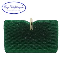 Royal Nightingales Hard Box Clutch Crystal Evening Bags and Handbags for Womens Party Prom Emerald Dark Green