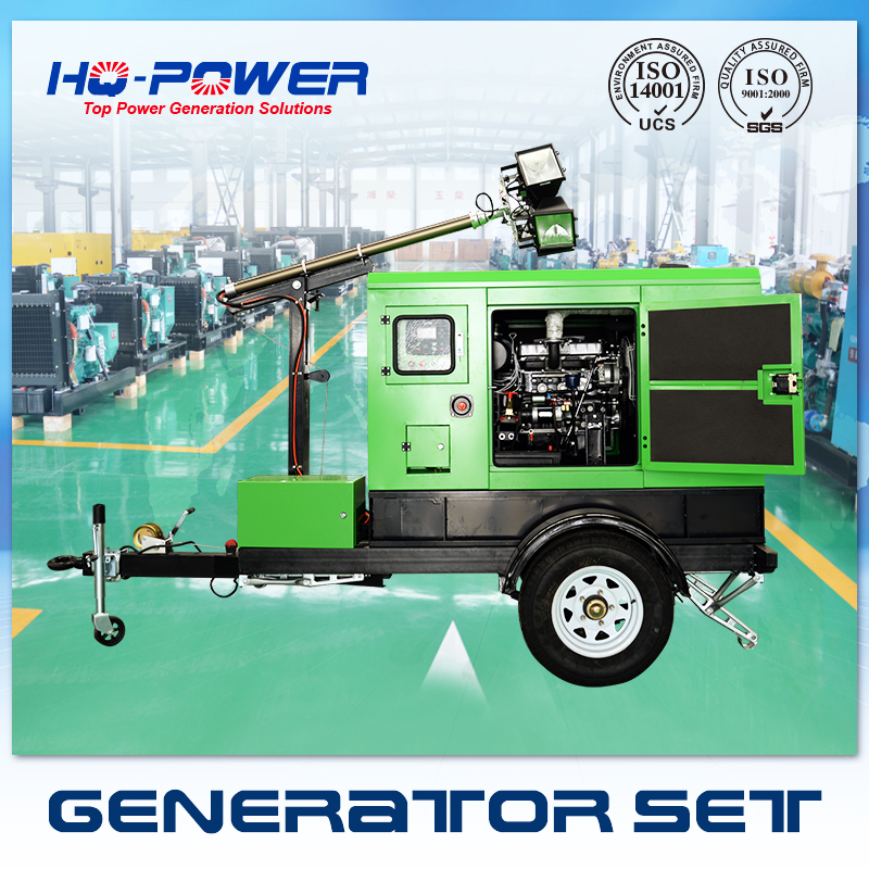 global warranty 3 phase 15kw portable floodlight with generator