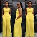 Amarelo Volta Zip Perna Larga Calças Compridas Rompers Jumpsuit Womens Top Fashion Macacões Macacão Feminino Sexy Roupas Uma Peça