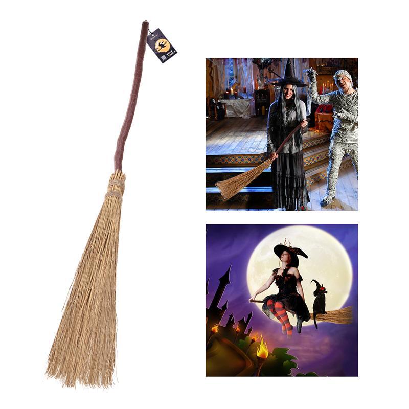 Divertido escobas y recogedores fantasía escoba de bruja de arrastrándose hierba escoba para casa fiesta de disfraces de Halloween