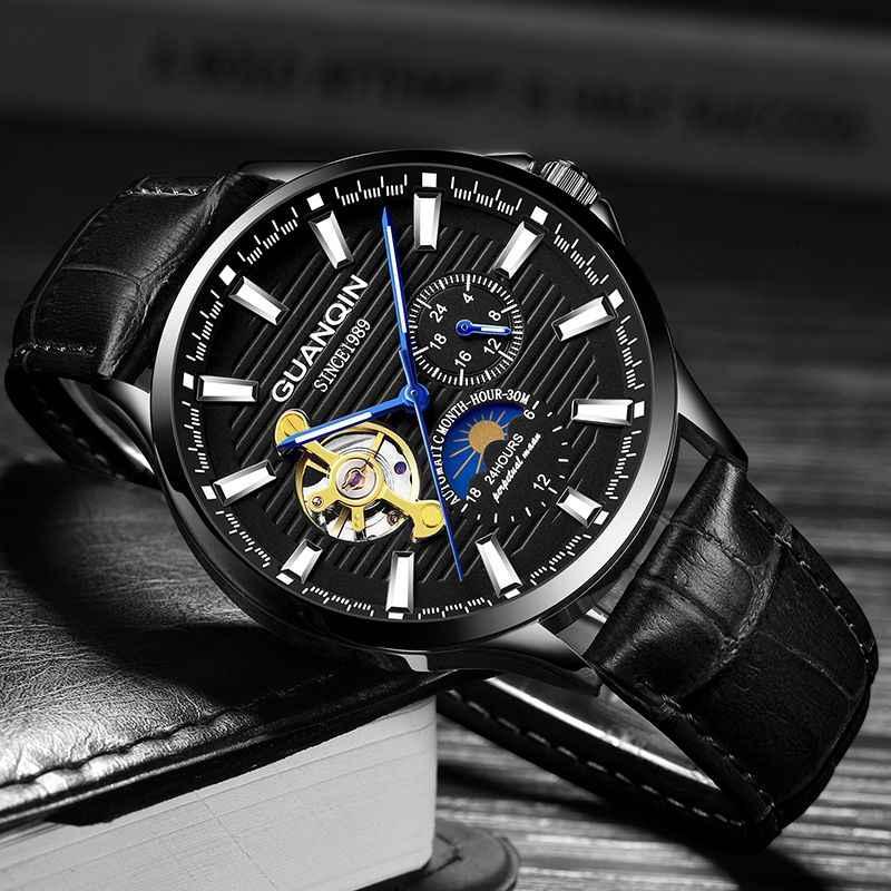 GUANQIN 2018 часы мужские светящиеся часы Мужские автоматические водонепроницаемые механические часы с кожаным каркасом из розового золота деловые часы relogio masculino