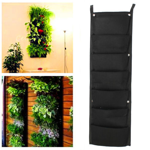 Practical 7 Pockets Hanging Fence Garden Vertical Flower Herbs Wall Planter  Black Home Balcony Yard Decoration