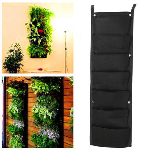 Pratique 7 Poches Suspendues Clôture Jardin Vertical Fleur Herbes ...
