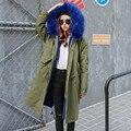 2017 women army green Large raccoon fur coat hooded coat parkas outwear long detachable lining winter jacket brand style