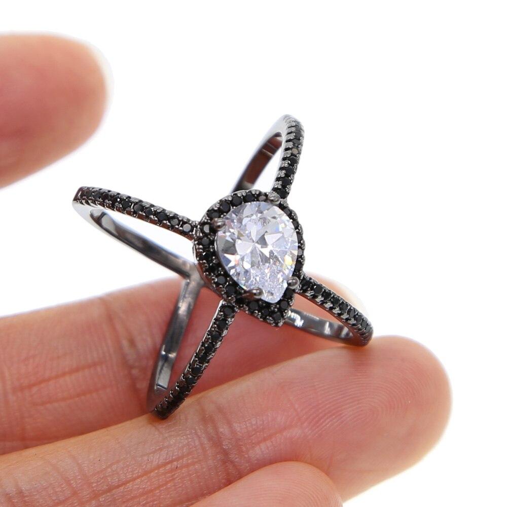 black gold tear drop shape black cz color Cross classic wedding engagement big stone women full finger ring ladies gift