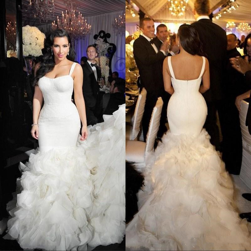 High Quality Meramid Wedding Dress With Sweep Train Tiered Tulle Bridal Gowns Ruffles Sexy Open Back With Spaghetti Straps