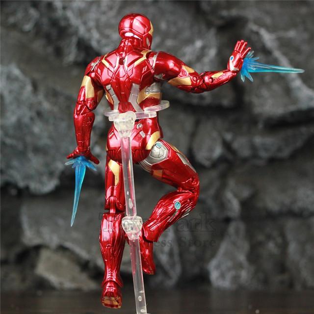 Marvel Avengers LED Light Iron Man 17cm Movie Action Figure Tony Stark Legends Endgame Ironman 3 Infinity War MK43 Doll ZD Toys