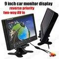 Pantalla de 9 Pulgadas TFT LCD Monitor Del Coche 2Ch Entrada de Vídeo Para Cámara de Visión Trasera de DVD revertir prioridad más vendidos