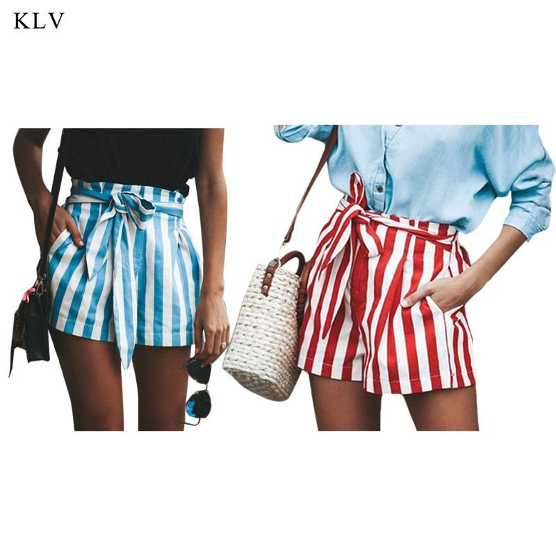 KLV Women Casual High Frill Waisted Self Tie Striped Print Summer Shorts