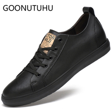 2019 new mens shoes casual genuine leather male flats sneakers height increasing shoe man black or white platform for men