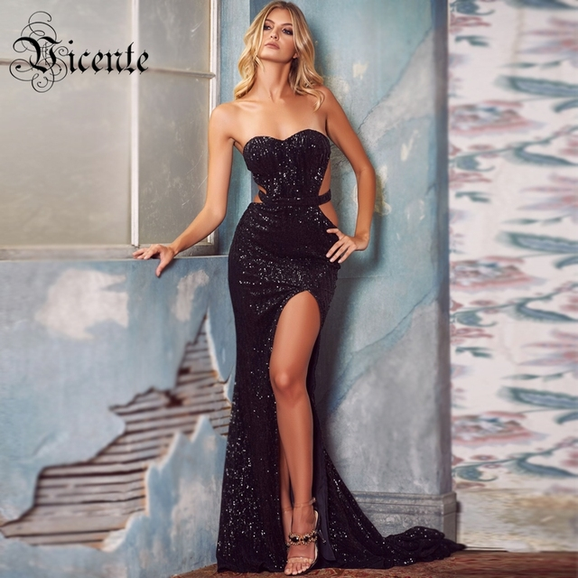 Vicente HOT Fashion Sequins Long Dress Sexy Strapless High Split Waist Hollow Out Wholesale Celebrity Party Dress