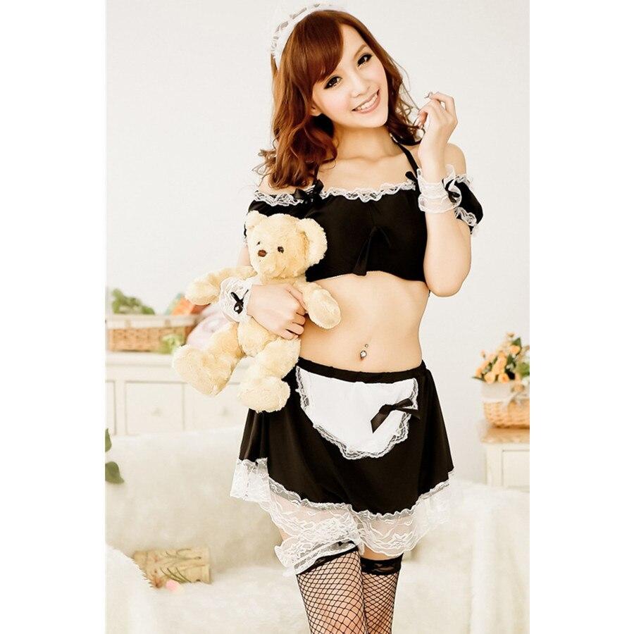 White apron ladies - 2017 New Women Sexy Black White Underwear Lace Bow French Apron Maid Servant Lolita Costumes Sleepwear