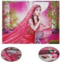 Ethnic Style Beauty 3D DIY Diamond Painting Art Mosaic Diamond Flowers Painting Home Decor Rhinestone Wall