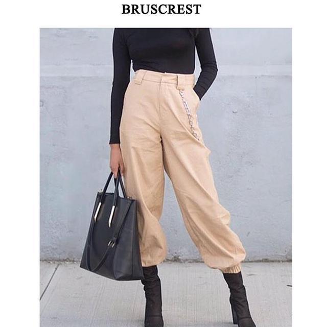 Hiver harajuku taille haute cargo pantalon femmes élastique harem pantalon zipper punk hip hop pantalon coton pantalons streetwear 2019