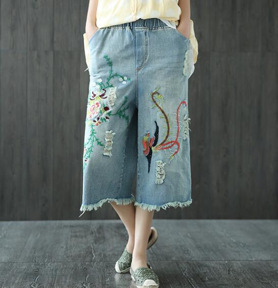 Retro embroidery holes loose waist Wide leg pants jeans mori girl