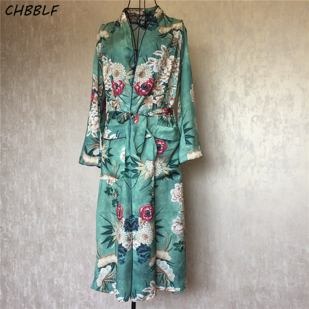 Jaro Nový evropský potisk obojků Kimono Coat Vintage Sashes Long Kimono Cardigan Pop192