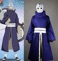 New Naruto Obito Uchiha Costume Akatsuki Ninja Tobi Uchiha Madara Cosplay Costume (Purple Jacket + Pants + Girdle + Gloves)