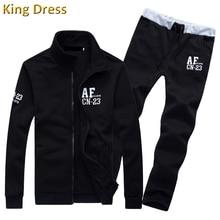 Gute Qualität Männer Trainingsanzug Frühling Herbst Blau Grau Schwarz Langarm Baumwolle Casual Mann Hosen Sweatshirt Set Trainingsanzug