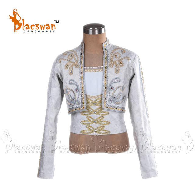 Customized Man White Ballet Dance Tunic Jacket 2 piece Prince Jacket professional Classical Silver Spanish Ballet Costume BT797