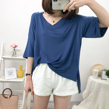 цена на Women T Shirt Short Sleeve Tops Hollow Cold Shoulder Top Tee Women Short Sleeve V-neck Casual Top Tees Plus Size Women Clothing