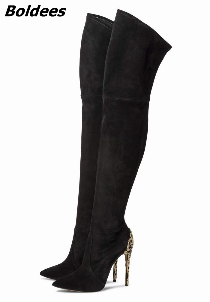 Sexy Black Suede Pointed Toe Slim Fit Long Boots Classy Women Unique Design Metal Branch Thin High Heel Over The Knee Boots