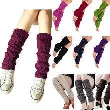 Hot New 2017 Fashion Women Ladies Winter Knit Crochet Leg Warmers Knee High Trim Boot Legging