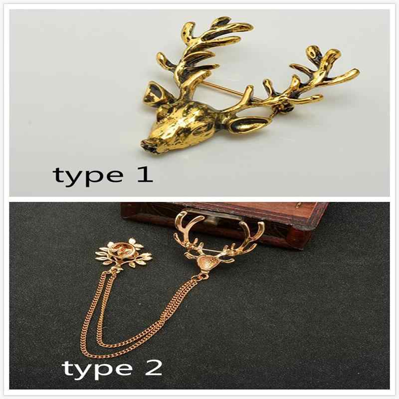 Rusa Bros Halus Golden Breastpin Kerah Pin Antik Hewan Perhiasan Pin Bros Pin Syal Topi Tas