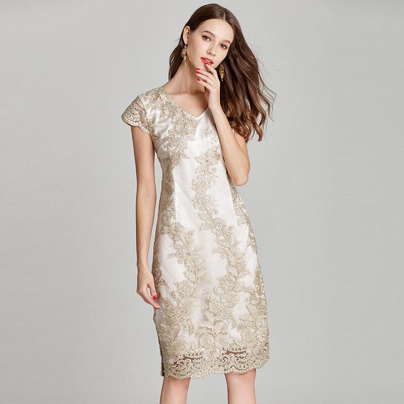2019 elegant women floral lace embroidery summer dresses plus size V ...