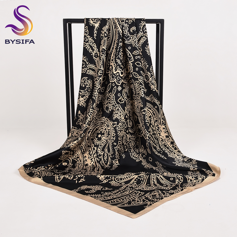 [BYSIFA] Women Black Beige Large Square   Scarves     Wraps   Winter Fashion Dull Satin Silk   Scarf   Shawl Elegant Ladies Neck   Scarf   Hijab
