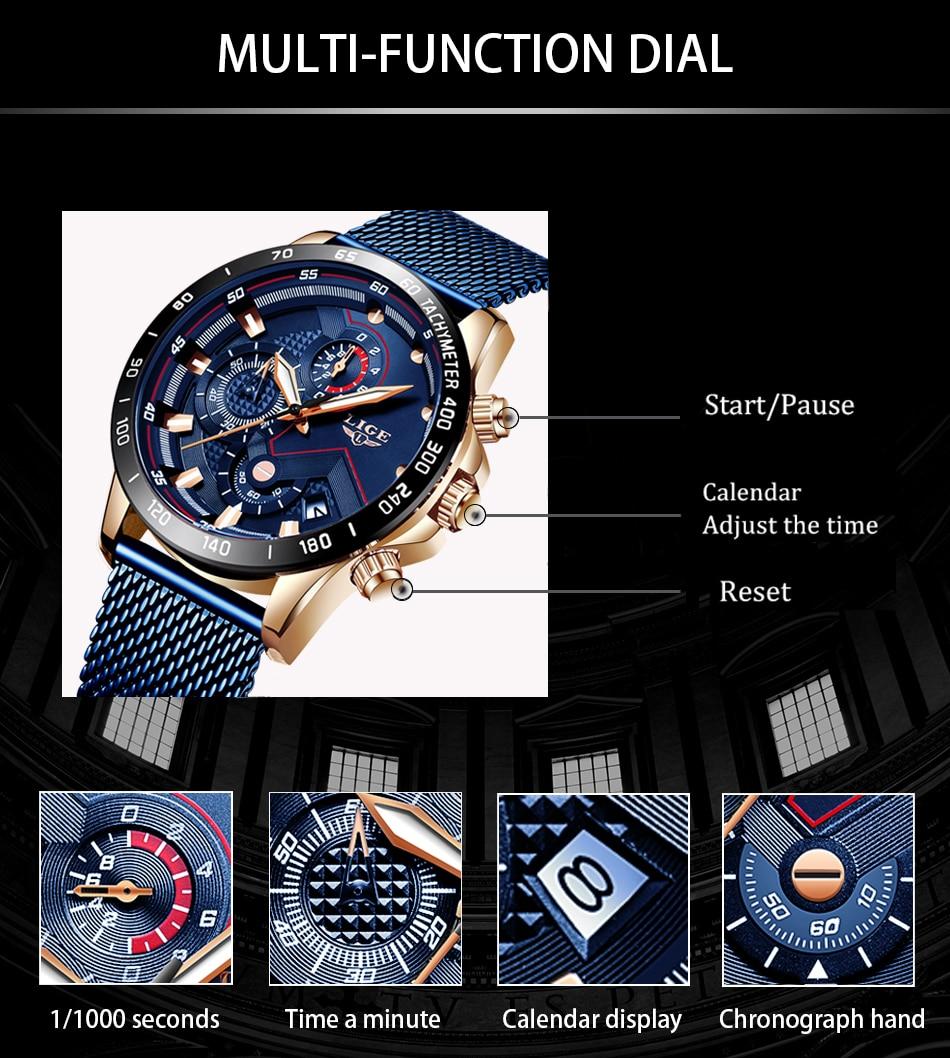 HTB1rvs2OXzqK1RjSZFoq6zfcXXag LIGE Men Watches Top Brand Luxury Stainless Steel Blue Waterproof Quartz Watch Men Fashion Chronograph Male Sport Military Watch