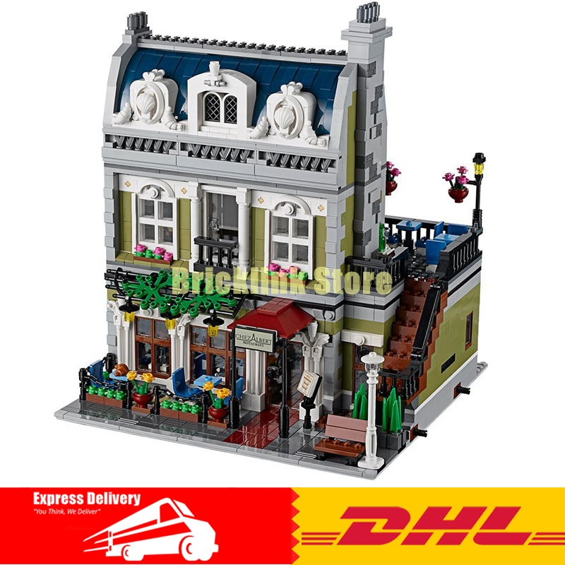 2018 DHL MOC LEPIN 15010 City Street Parisian Restaurant Model Building Kits Set Blocks Toy Clone 10243 Diy Toys dhl new 2418pcs lepin 15010 city street parisian restaurant model building blocks bricks intelligence toys compatible with 10243