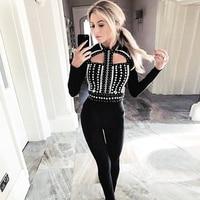 2018 знаменитости взлетно посадочной полосы роскошные повязки Бисер бриллиантами черный V шеи спинки полной длины пикантные Для женщин Комби