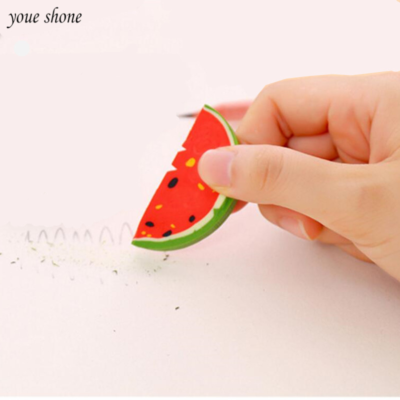 1PCS/lot Cute Watermelon Modeling Eraser Fruit Rubber For Office School Students Supplies Eraser Stationery
