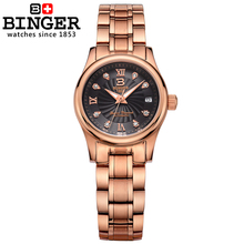 Switzerland BINGER Women's watches luxury18K gold Mechanical clock full stainless steel Waterproof Wristwatches B-603L-10