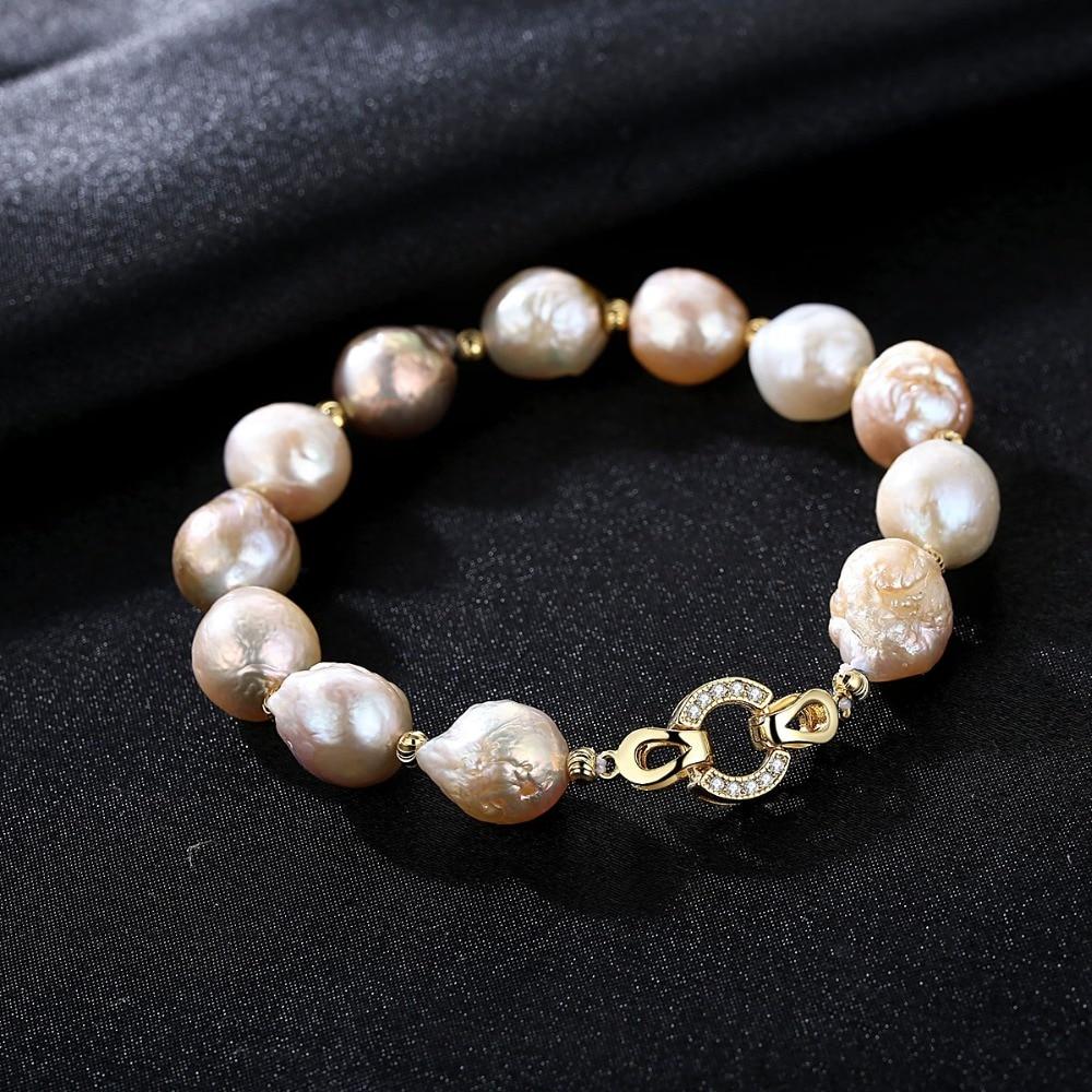 PAG & MAG Marke Süßwasser Perle Strang Armband 12-13mm Natürliche - Edlen Schmuck - Foto 4