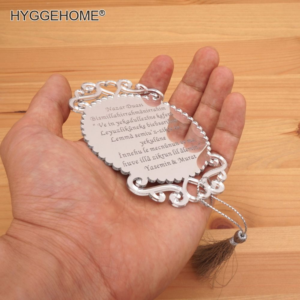 20pcs 10x7cm Custom Personalized Invitation Card Wedding Guest Gifts Acrylic Mirror Tags Birthday Party Decor Favors