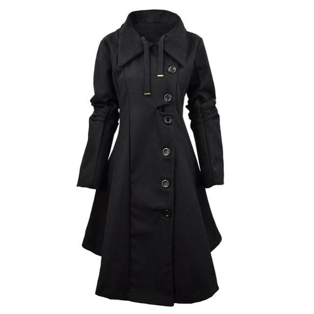 CharmDemon New Autumn Winter Women's Trench Coat Long Outerwear For Lady manteau dr14